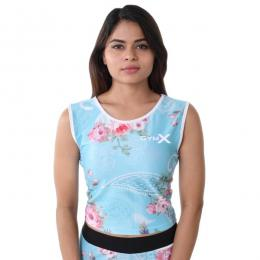 Discover GymX Tropical Series Short Top - Floral Blue sporting product Online in Mumbai - Sportobuddy.com
